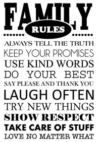 FAMILY RULES Vinyl Wall Art Decal Wall Lettering Quote ...