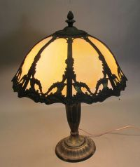 Antique Rainaud Bent Panel Slag Glass Lamp c. 1910 Signed