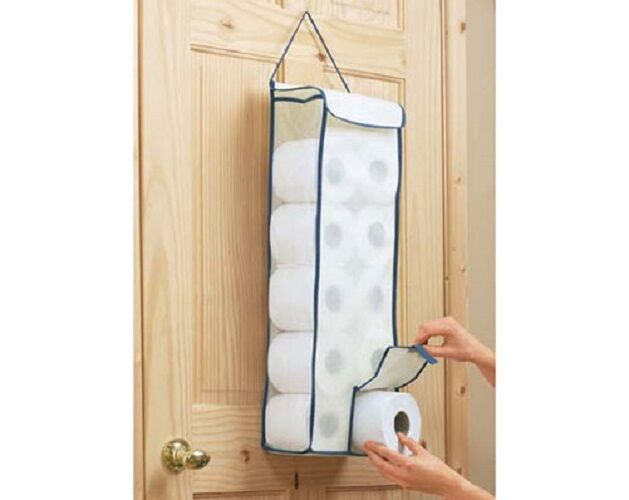 Hanging Toilet Roll Fabric Organiser Bathroom Store