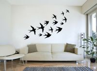 FLYING SWALLOWS Flock of Birds Silhouette Wall Art, Decal ...