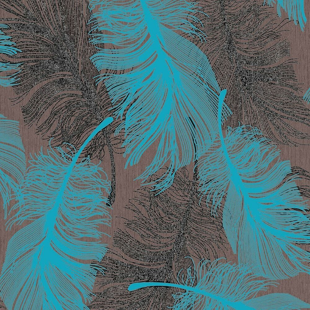 Tapete Modern Chocolate Brown And Teal Feather Wallpaper Silver Glitter