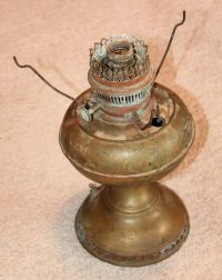 ANTIQUE BRASS OIL LAMP ELECTRIFIED FOR PARTS OR REPAIR | eBay