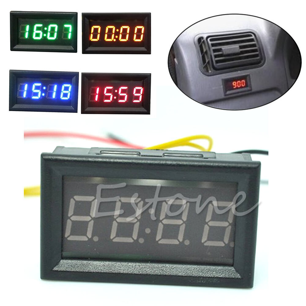 Digital Clock For Sale 12v 24v Car Motorcycle Accessory Dashboard Led Display Digital Clock Ebay