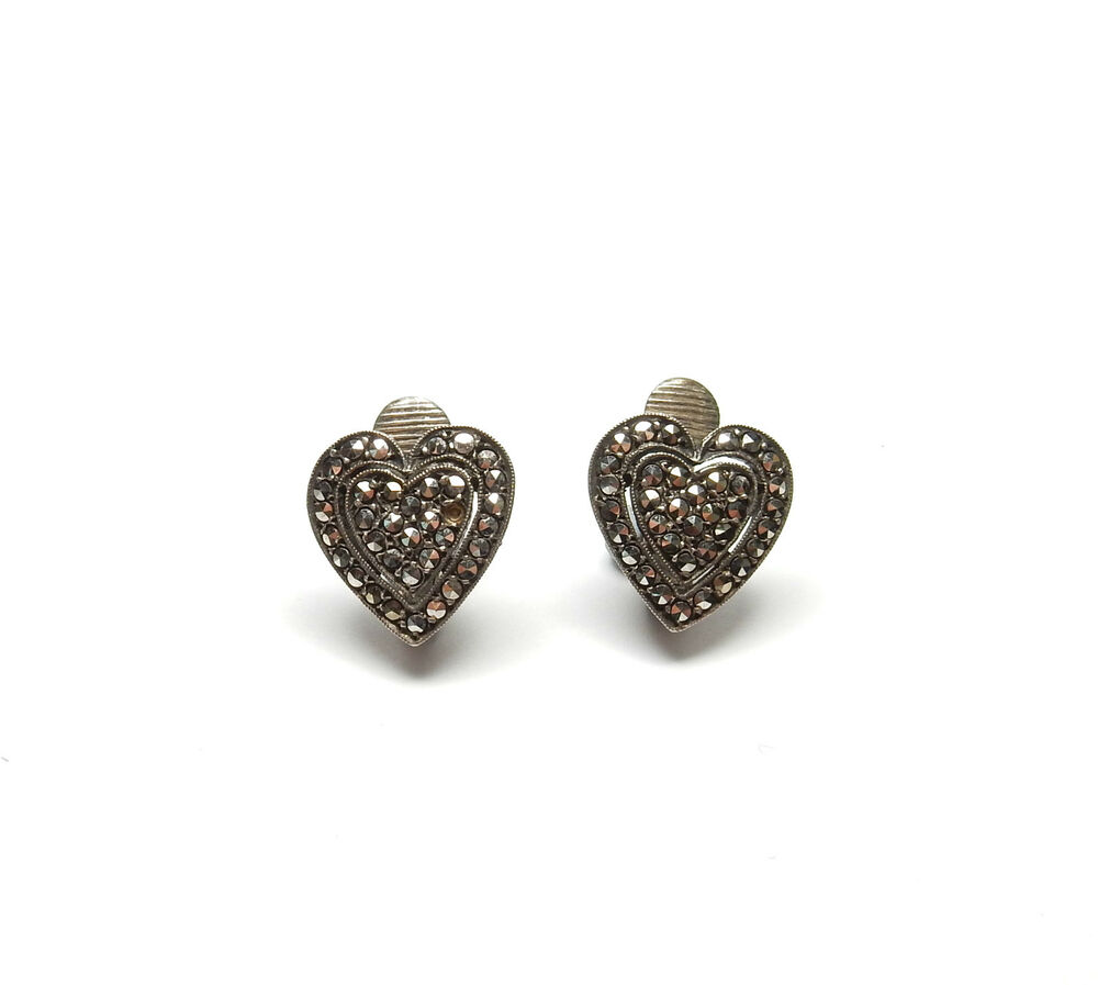 Vintage 925 Sterling Silver MARCASITE SET LOVE HEART CLIP