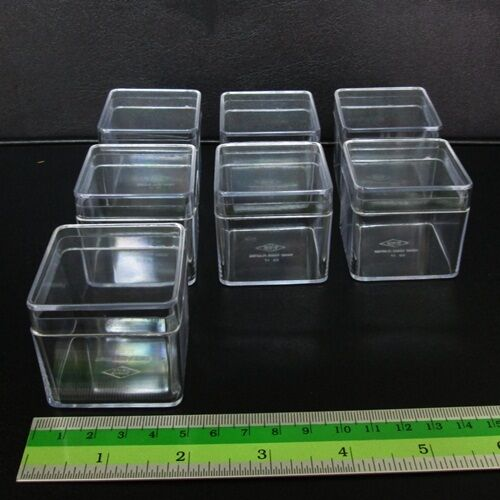 12 Small Clear Cube Dice Plastic Boxes Tiny Items Crafts