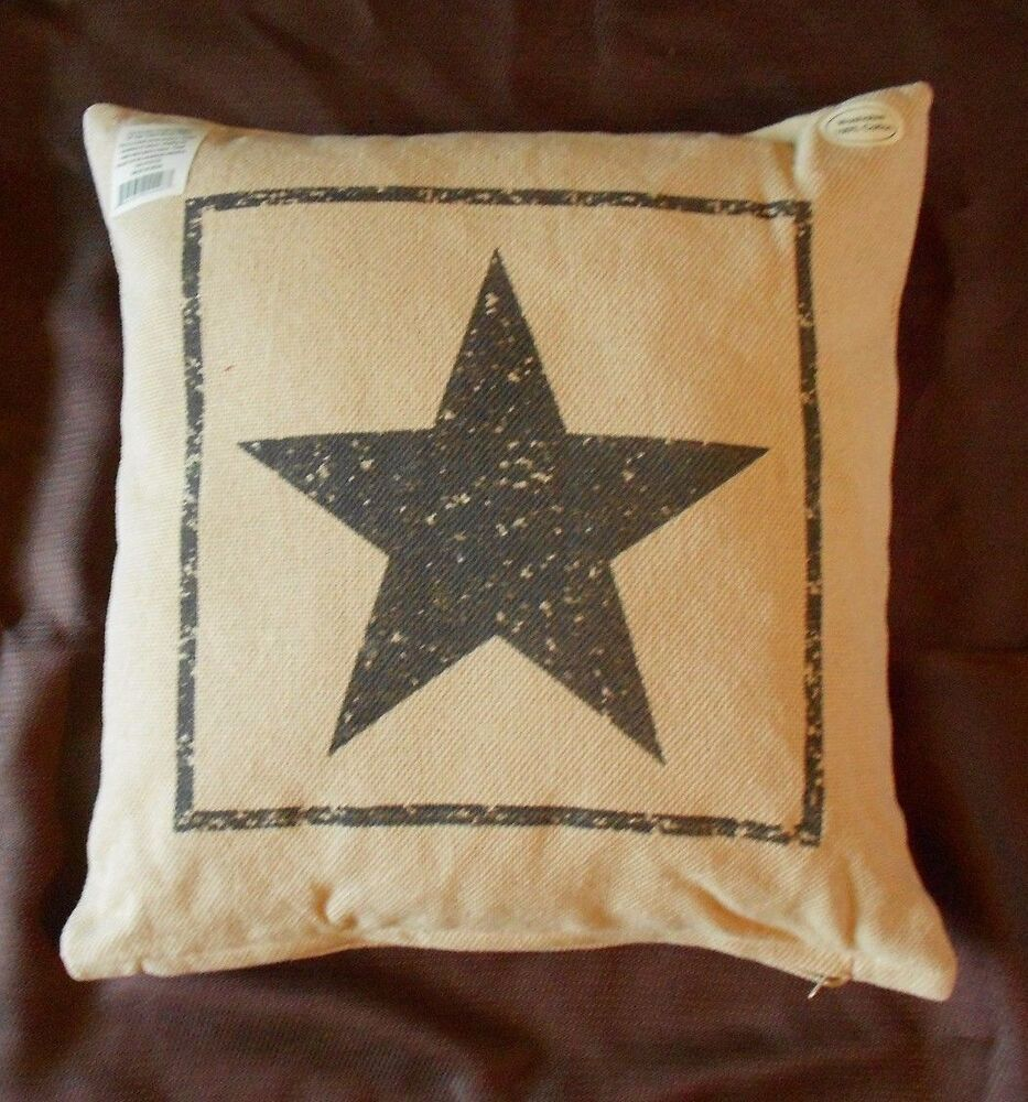 Primitive Black Star Cotton Burlap Decorative Throw Pillow
