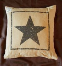 Primitive Black Star Cotton Burlap Decorative Throw Pillow ...