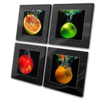 Food Kitchen Fruit Apple Splash CANVAS WALL ART Picture ...