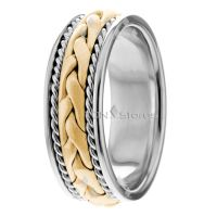 ROPE HAND BRAIDED RING MENS 14K GOLD BRAIDED WEDDING BANDS ...