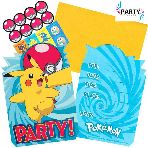 Pokemon Party Supplies Postcard INVITES SEALS SAVE THE DATE STICKERS