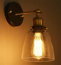 Modern Industrial Vintage Rustic Sconce Brass Indoor Glass ...