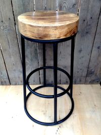 Industrial bar stool wooden top shabby vintage chic ...