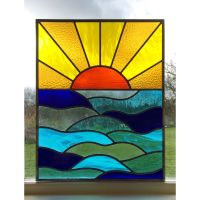 Handmade Stained Glass Window Door Panel Sun Set Sea