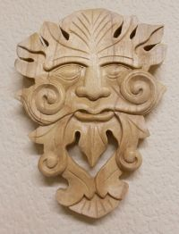 Hand Carved Wooden Wood Wall Plaque Green Man Wizard ...