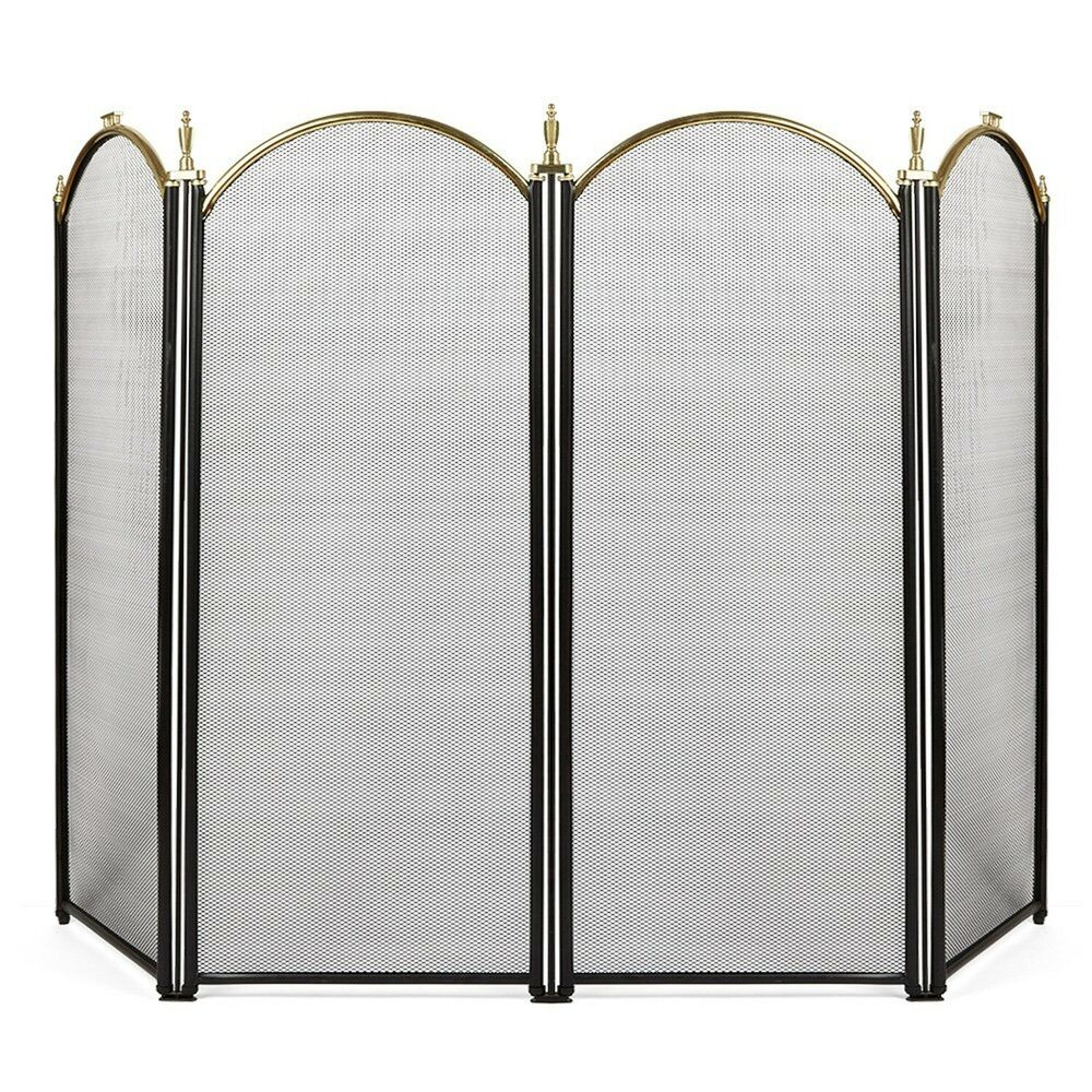 Brass Fireplace Screen 4 Panel Outdoor Large Gold Fireplace Screen Wrought Iron Black Metal Fire Place 714367086521 Ebay