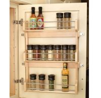 Wood Shelf Door Mount Cabinet Spice Holder Rack Storage