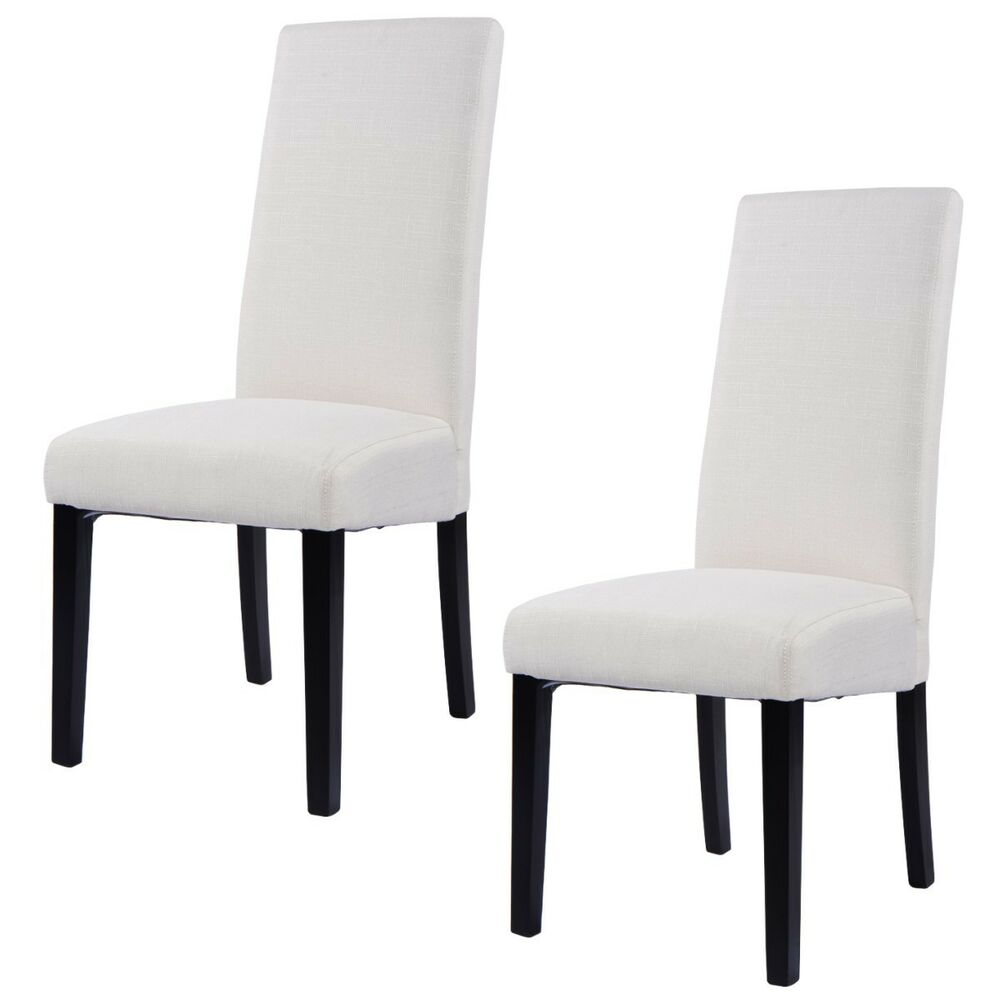 Fabric Dining Chair Armless Accent Upholstered Wood Modern
