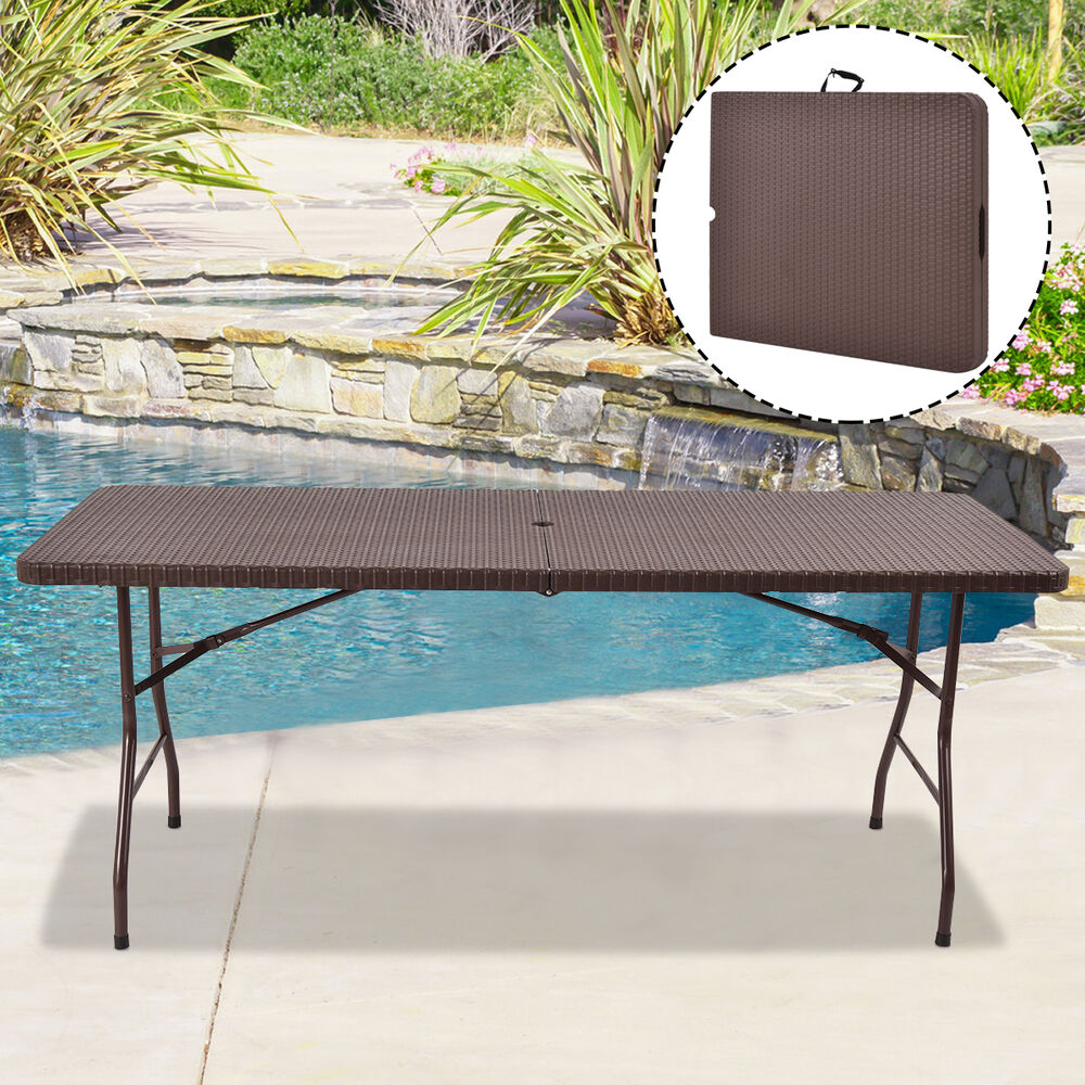 Rattan Table Home 6 Ft Modern Folding Catering Camping Trestle Picnic Bbq Party Rattan Table Ebay