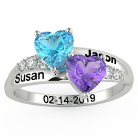 Personalized Name Birthstone Promise Ring 925 Sterling ...