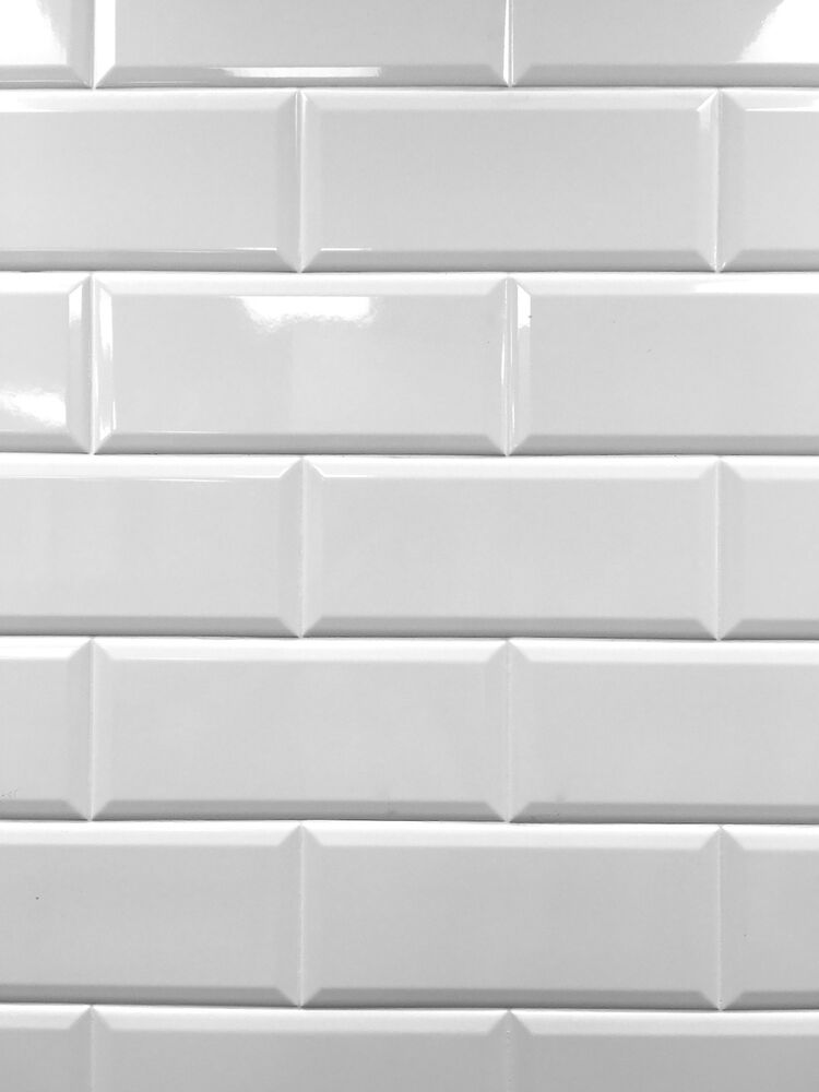 White 4x10 Beveled Shiny Ceramic Subway Tile Backsplash - Subway Tile