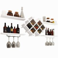 Wall Mount Wine Rack Bottle Glass Holder 4 Shelves WHITE