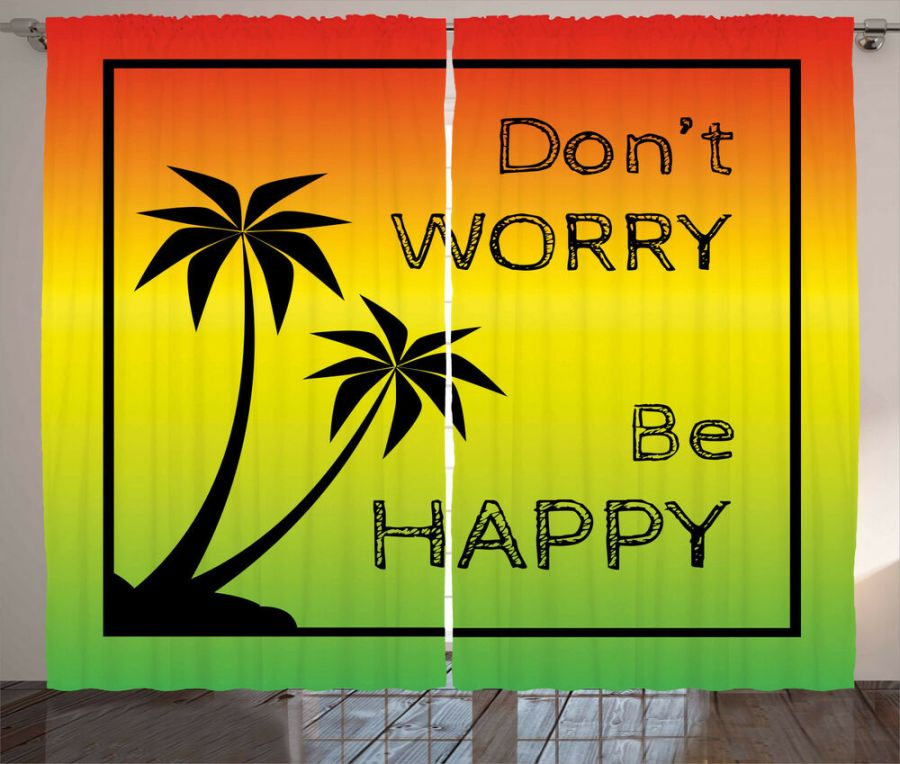 Details about Rasta Curtains Positive Music Lettering Window Drapes 2 Panel Set 108x84 Inches