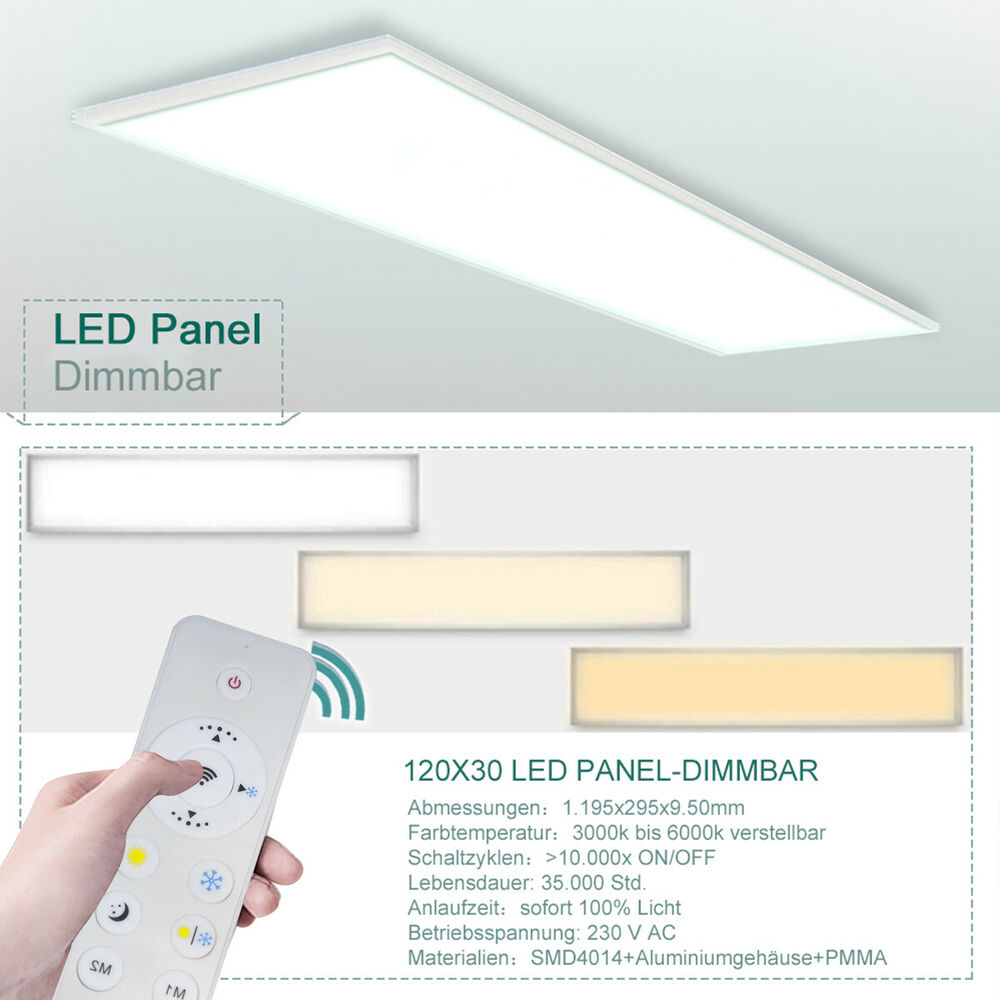Led Panel Dimmbar Fernbedienung Ultraslim Led Panel 120x30cm Deckenleuchte Dimmbar