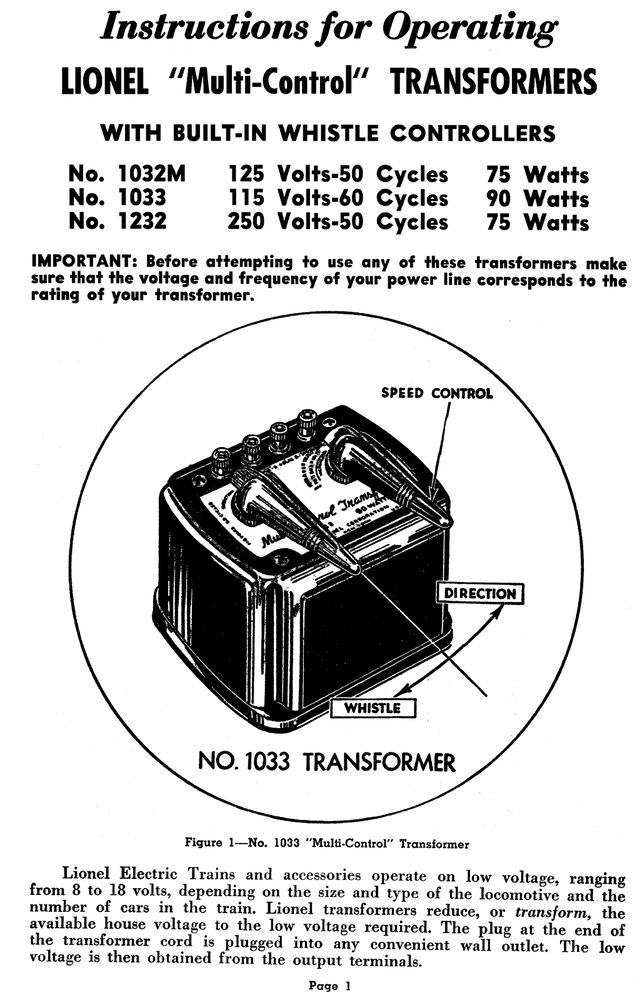 Copy of Lionel 1033 Transformer Instructions AND Service and Repair