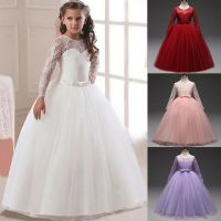 Lace Flower Girl Princess Tutu Tulle Party Long Dress for ...