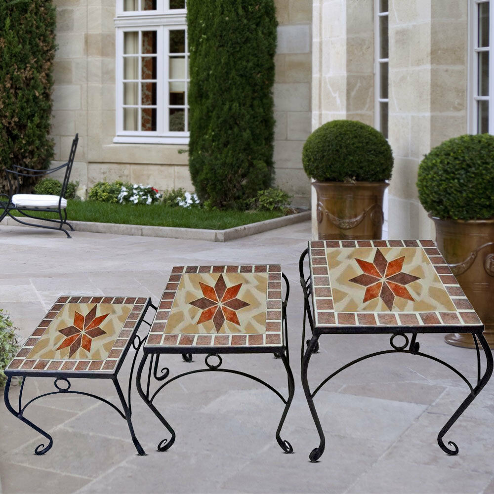 Meuble Pour Plante Set Of 3 Mosaic Flowers Stool Garden Table Seat Furniture Decoration Plant Tray 4041908100016 Ebay