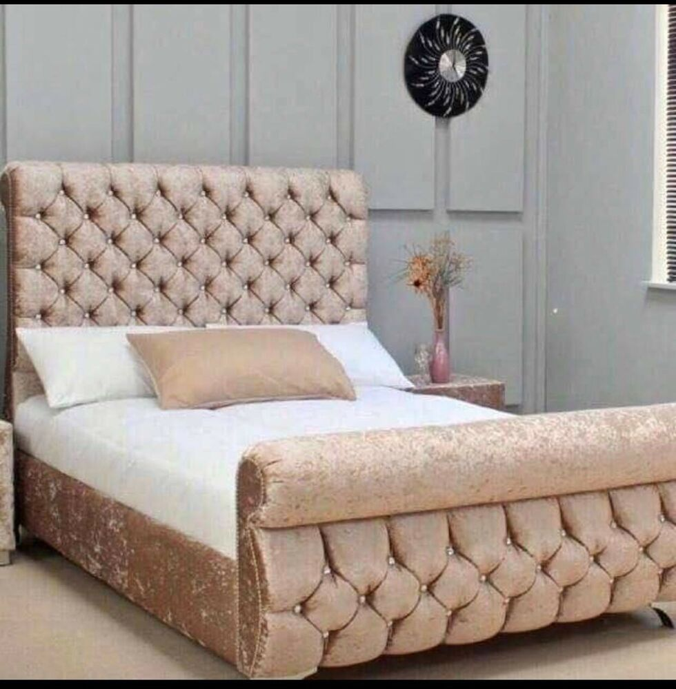 Crushed Velvet Bed Ebay Swan Sleigh Crushed Velvet Bed Frame Ebay