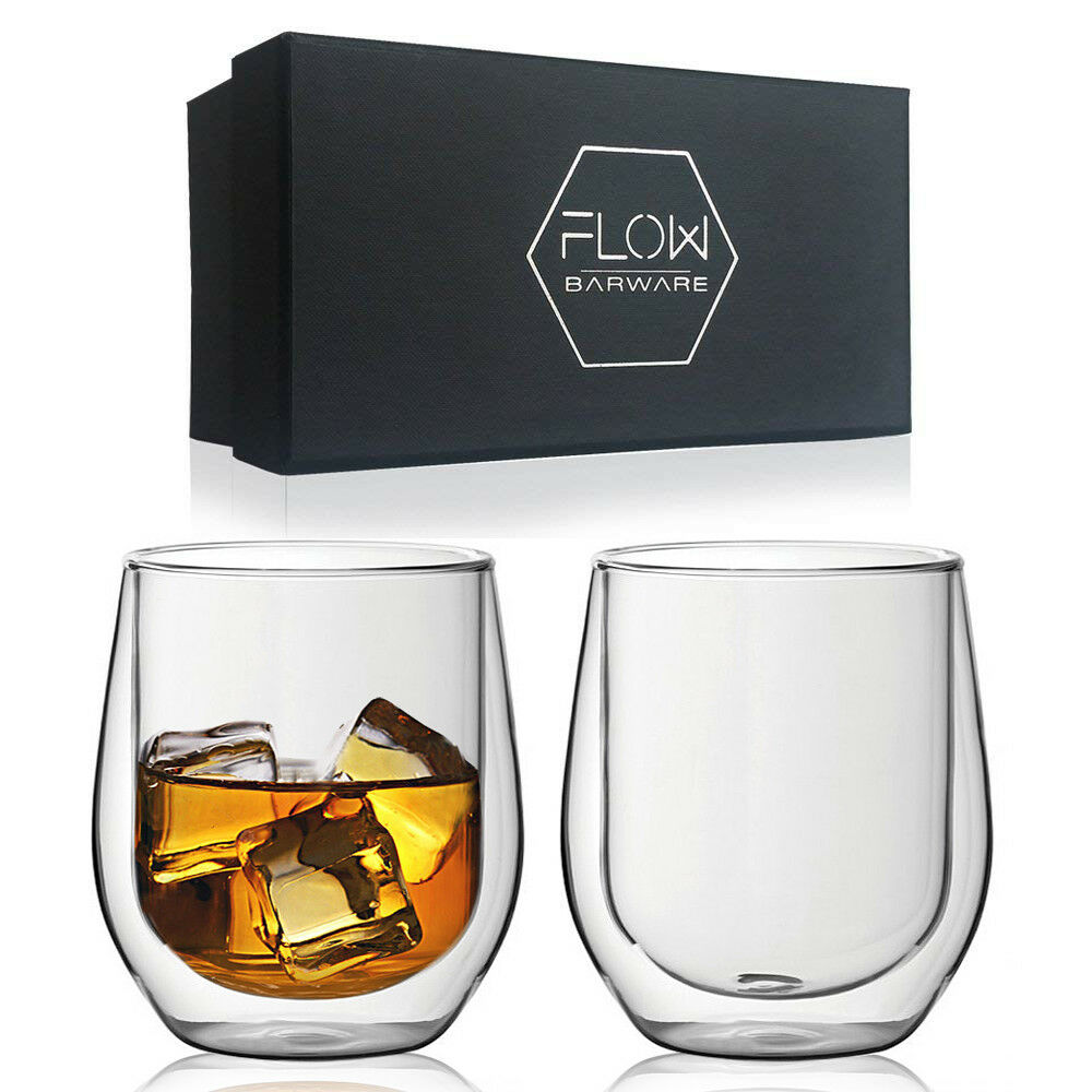 Wisky Glas Double Walled Whisky Glasses Insulated Glass Tumblers Scotch Bourbon G T Boxed Ebay