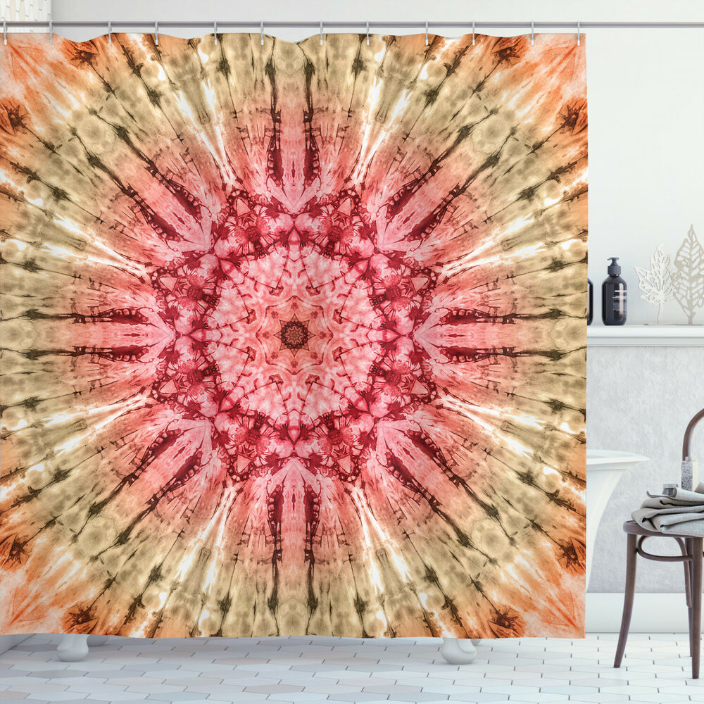 Red And Brown Shower Curtain Fabric Shower Curtain Batik Hippie Red Brown Print For Bathroom Ebay