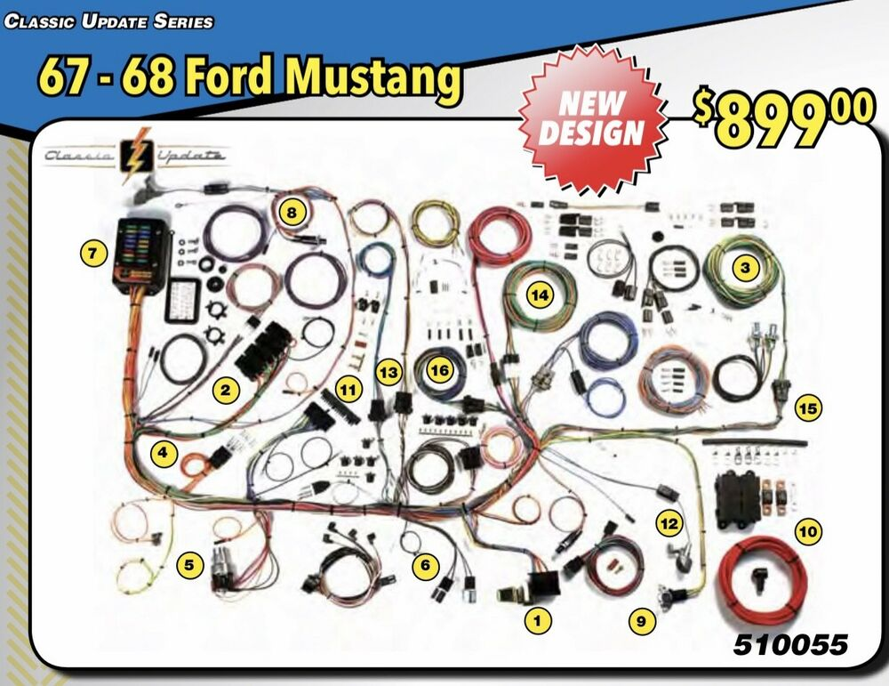 NEW DESIGN 1967 1968 FORD MUSTANG WIRE WIRING HARNESS AMERICAN