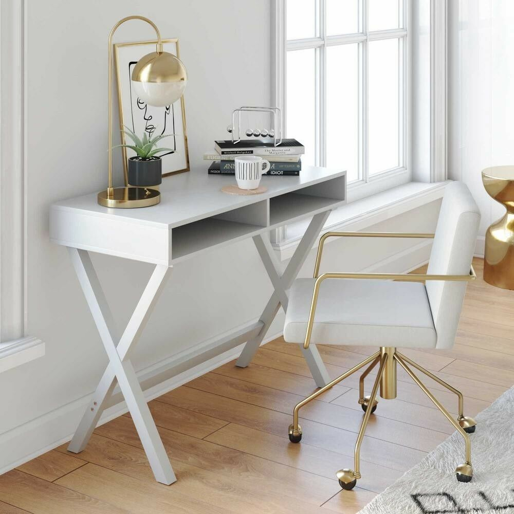 Modern Compact Computer Desk Modern Compact Computer Desk Wood With 2 Large Open Storage Compartments White 628110580177 Ebay