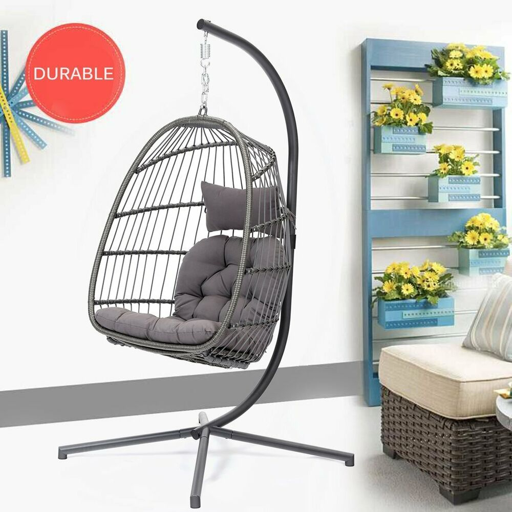 Cushion Chair Hanging Egg Chair Outdoor Porch Garden Swing Cushion Seat Furniture Steel Stand Ebay