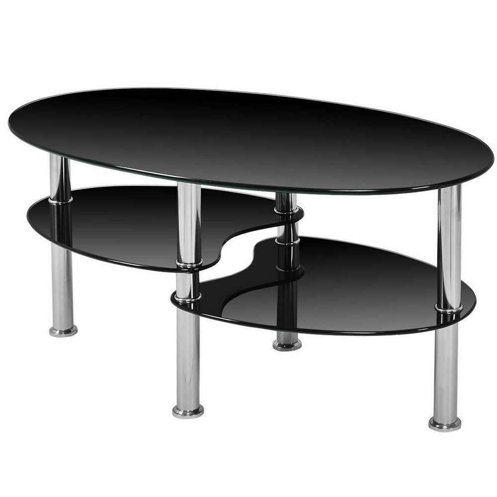 Small Round Glass End Table Small Coffee Table With Storage Modern Round Glass End Table Oval Black Tempered Ebay