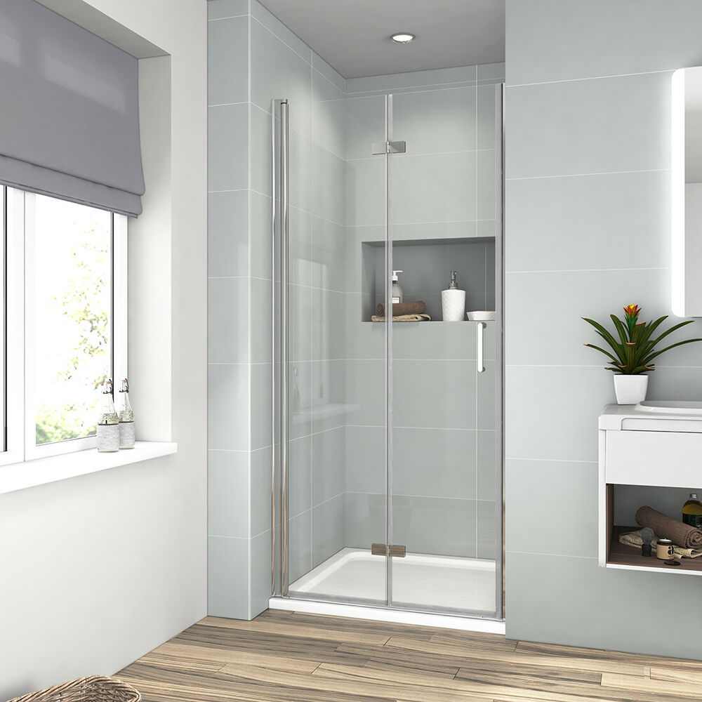 Walk In Duschwand Montieren Frameless Bi Fold Shower Door Enclosure Glass Screen 700 760 800 900 1000 1200mm Ebay