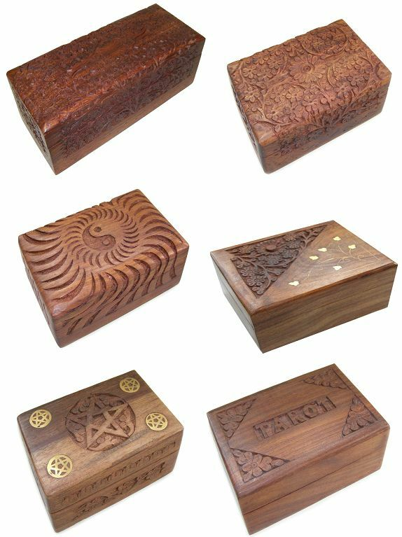 Carved Decorative Wooden Trinket Boxes 6 X 4