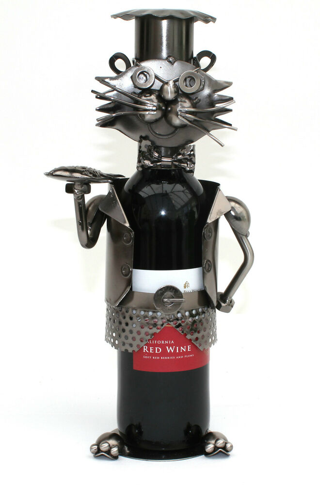 Cat Chef Metal Wine Bottle Holder Ebay
