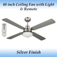 Fias Ramo Silver 4 Blade Ceiling Fan with Light and Remote ...