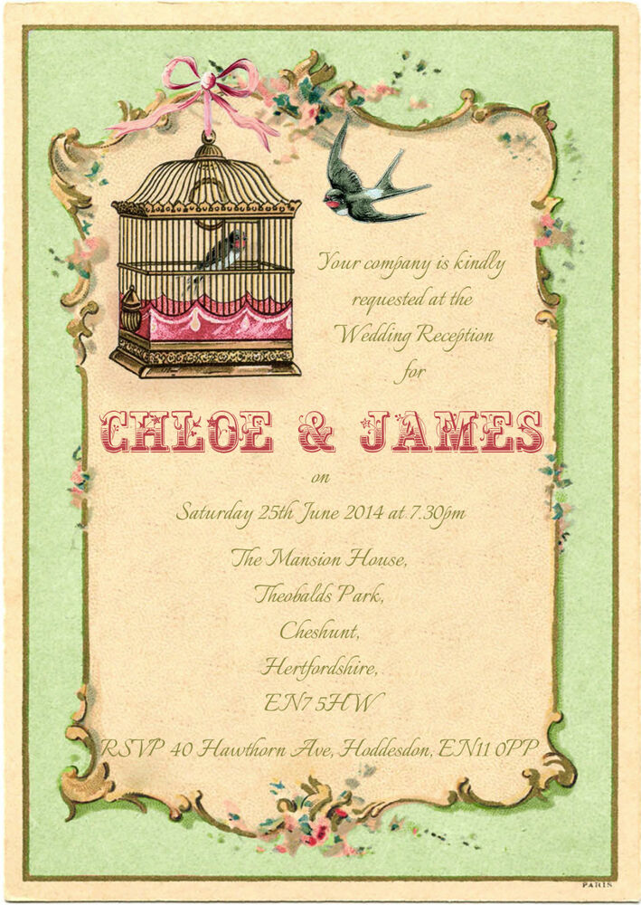 Personalised Birdcage Wedding Reception Invitations Packs