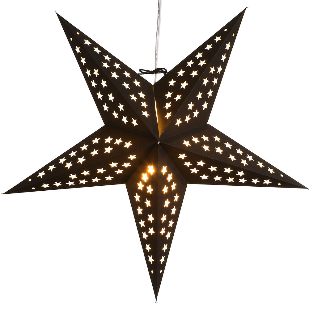 Stern Lampe Noir Paper Star Light Lamp Lantern With 12 Foot Cord