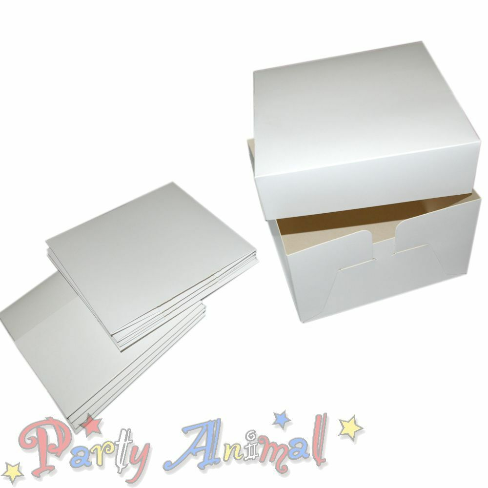 5 Pack White Cake Boxes 6 Inch Deep Box Lid Carrier
