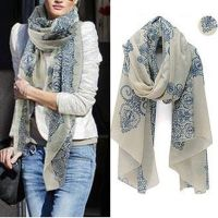 Women Fashion Pretty Long Soft Chiffon Scarf Wrap Shawl ...