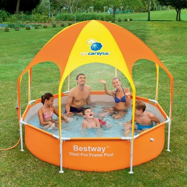 Steel Pro Zwembad Bestway 2.4m 1688l Inflatable Splash In Shade Family Play
