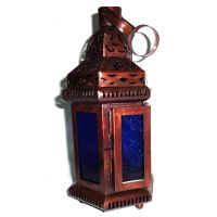Moroccan Candle Lantern, Blue Glass Hanging Tealight