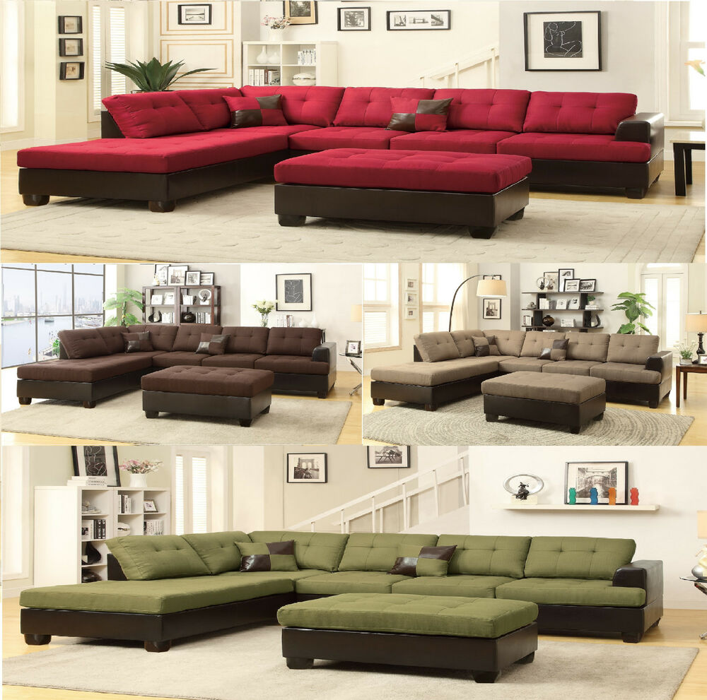 Sectional Sofa Contemporary Sectionals Couch Chaise Corner Couches Free Ottoman Ebay - Couch Oder Sofa