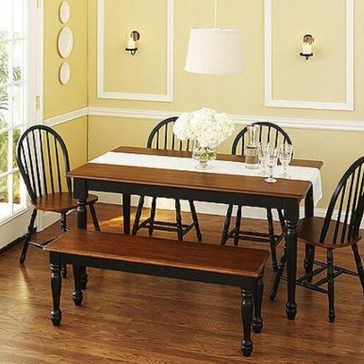 6 Pc Black Dining Set Dinette Sets Bench Chair Table