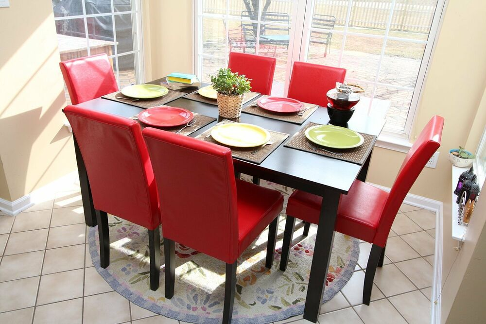 7pc Espresso Dining Room Kitchen Set Table & 6 Red Parson